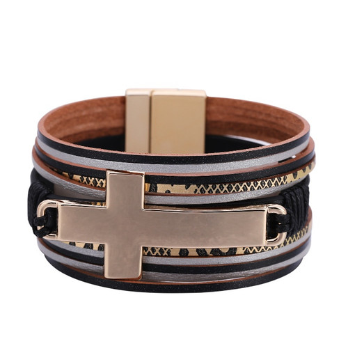Leather Bracelet with large gold cross and magnetic fastener ( 3 colour options)
