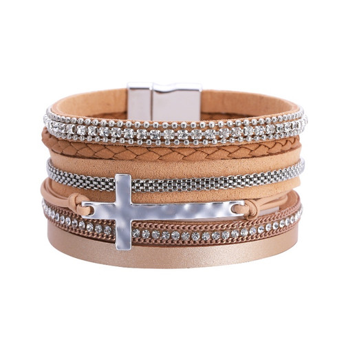 bohemian glitter and cross on pu leather multi strap bracelet - choose from 4 colours