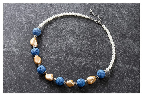 lava stone bead necklaces with diamante and pearl beads -two colour options