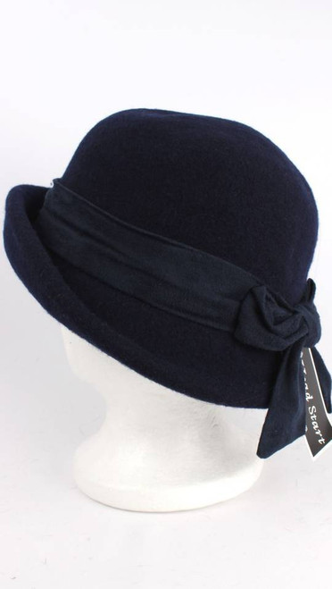 Wool mix cloche hat with upturned front, band and bow (various colours)