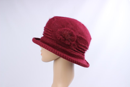 Angora hat with flower detail and soft warm fluffy lining(comes in 5 colours)
