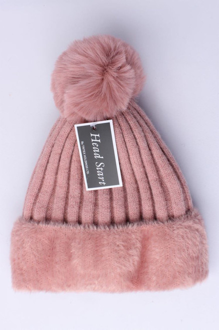 wool and viscose fleece lined beanie with big pompom (lots of colours)
