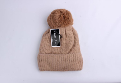 wool viscose fleece lined beanie with pompom (4 colours)