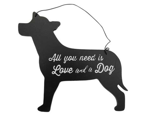 """All you need is Love asnd a Dog"" hanging MDF dog silhouette sign"