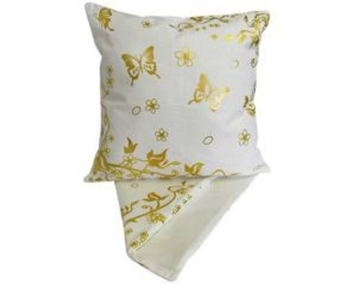 Gold butterflies and vine on cream cushion cover