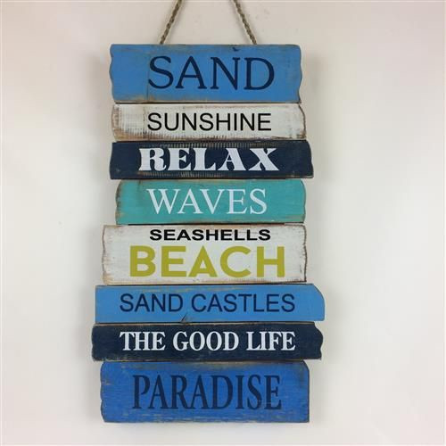 Sand sunshine relax (multi) ... Hanging wooden sign 30cm x 50cm (approx)