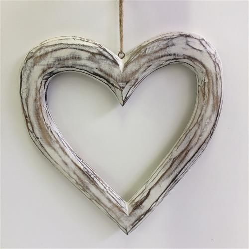 Hanging white washed hollow wooden heart shape - comes in large or small