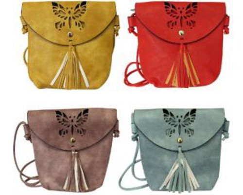 Butterfly cut out motif with tassel cross body shoulder bag (comes in 4 colours)