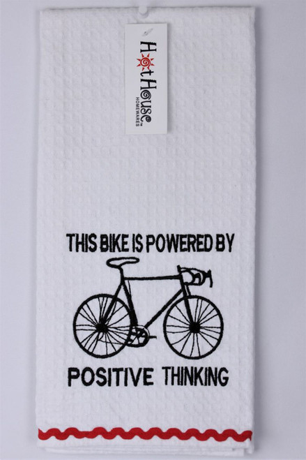 Funny Tea Towels  - This bike is powered by Positive Thinking