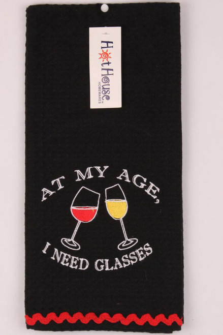 Funny Tea Towels - At my age I need glasses
