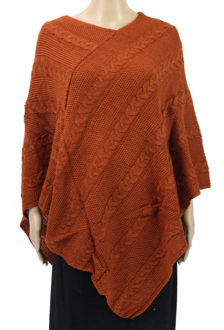 Plait lines patterned poncho  - available in 8 colours