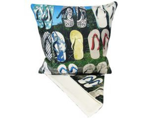 NZ Jandal on fence - cushion cover