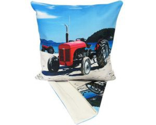 NZ Tractor on Beach - cushion cover