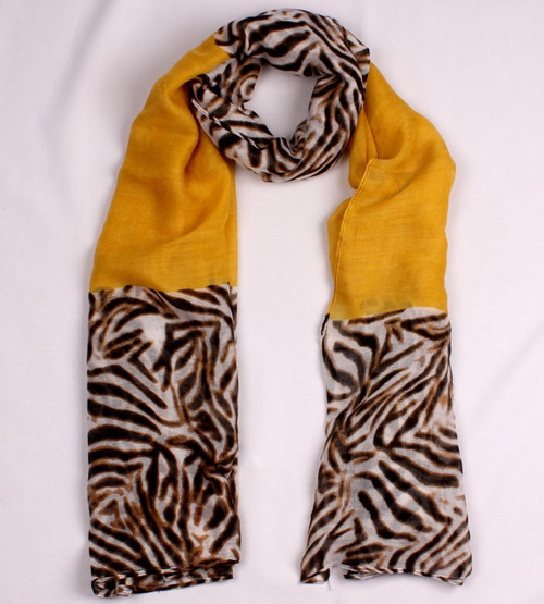 animal print scarf with block colour - 3 colour options