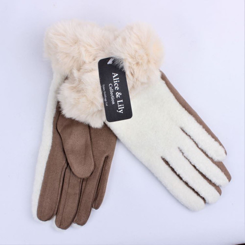 Fluffy back, fur cuff glove (colours available)