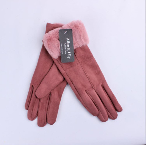 suede look with fur cuff glove (pink or black)