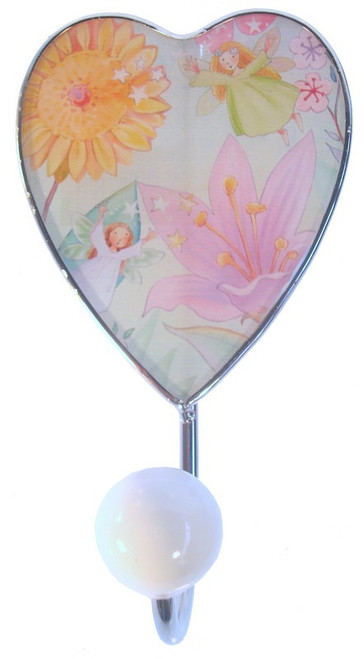 Printed glass face Fairy picture with white ball Big Hook