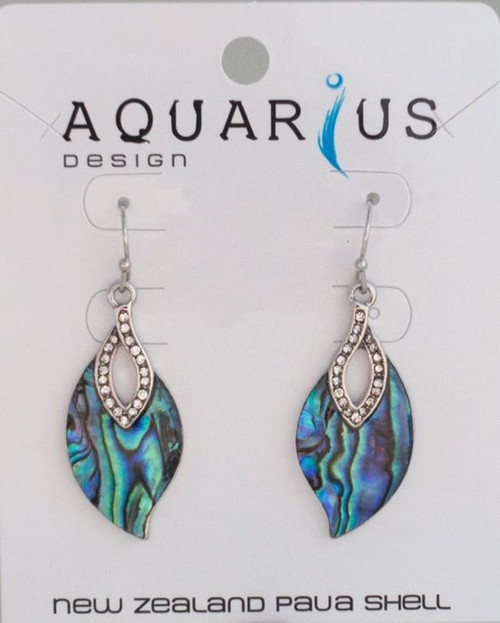 NZ Paua shaped leaf with crystals from hook earring
