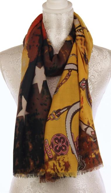 Scarf - mustard colour italian chain pattern
