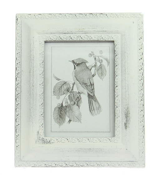 Photoframe for 5 x 7 photo shabby chic finish in antique whitw