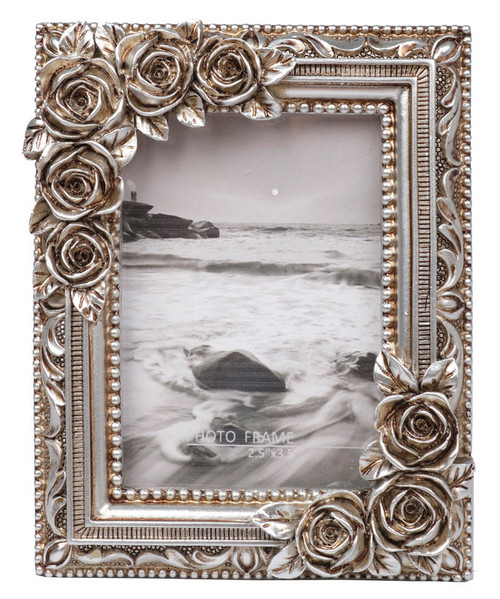 rustic  decorated rectangle photo frame with primrose on the edge to fit 3 x 2 photo (2 colours)