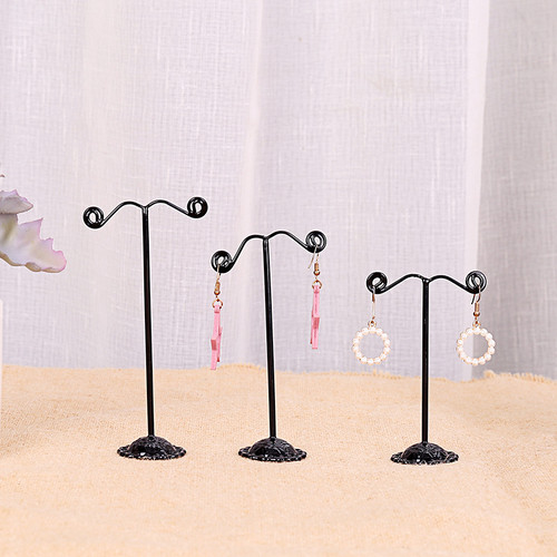 set of 3 earring display stands in black (twirls on the end)