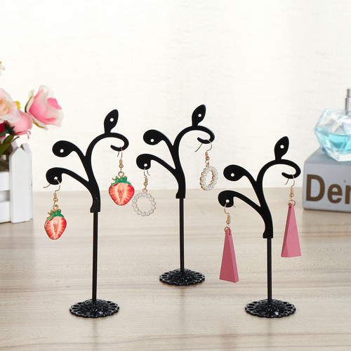 Set of 3 earring display stands with leaves on branch stylised design (comes in black or white)