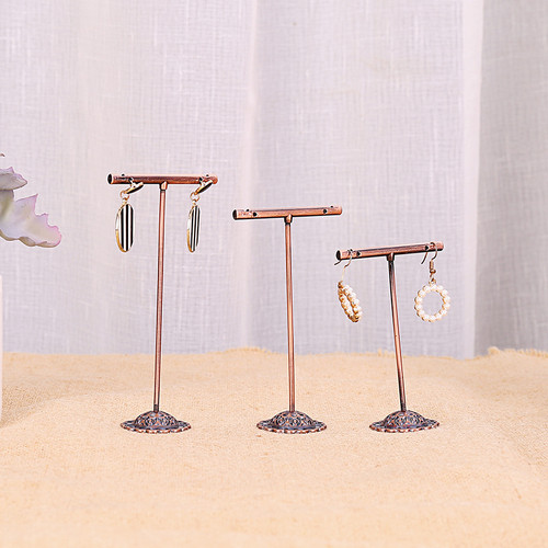 set of 3 copper look T-bar earring display stands