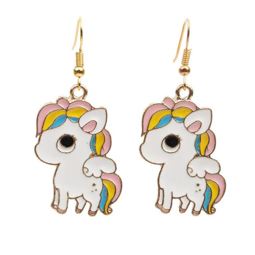 cute cartoon Pony hung from gold coloured hook earrings