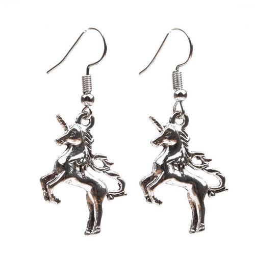 silver coloured unicorn earrings