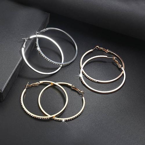 rhinestone encrusted big 5.6cm hoop  (comes in gold, silver or rose gold