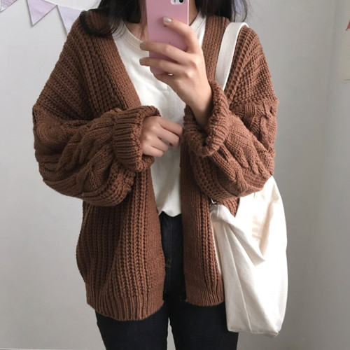 Loose long sleeved knit sweater cardigan jacket (M or L - Brown or Pink)
