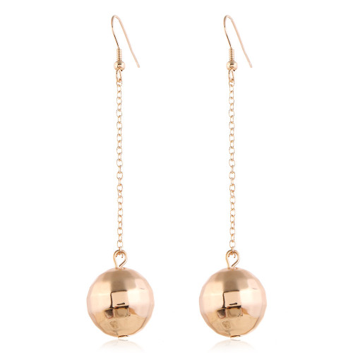 Spherical ball suspended on a chain from hook earring comes in silver or gold