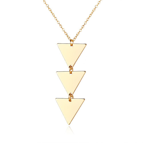 drop of 3 gold coloured flat triangles on a chain pendant necklace