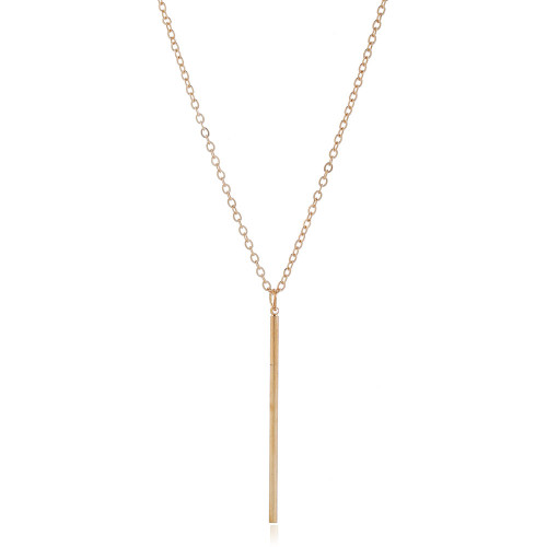 Simple gold coloured rod hanging from gold coloured link chain pendant necklace
