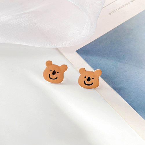 small Bear smiling face Clip on earrings