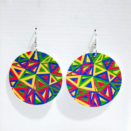 colourful triangle on round wooden disc  hung from hook earrings