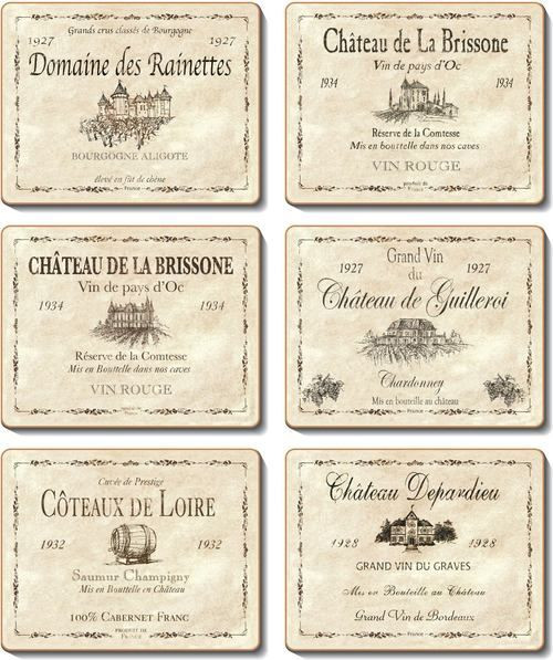 Coasters - 6 x different wine labels