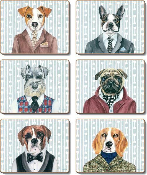 Coaster - 6 x Gentlemen Dogs dressed for dinner