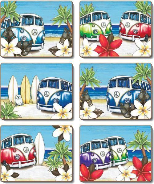 Coaster- 6 x Beach Kombi scenes