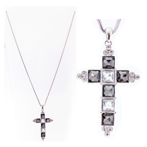 Cross necklace with large black and clear dimante