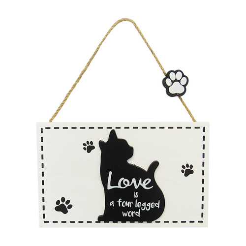 hanging cat sign - love is a four letter word
