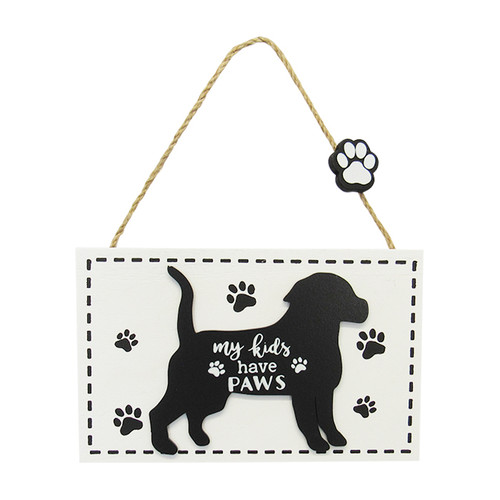 hanging dog sign - my kids have paws