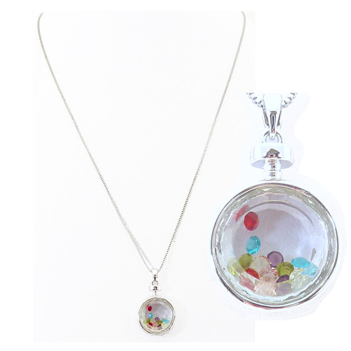 Small fob necklace holding multi coloured crystals