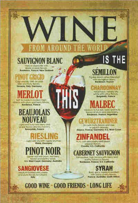 retro style tin signs - Wine from around the World