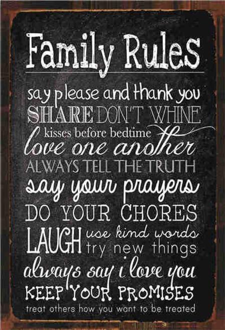 retro style tin sign - Family rules