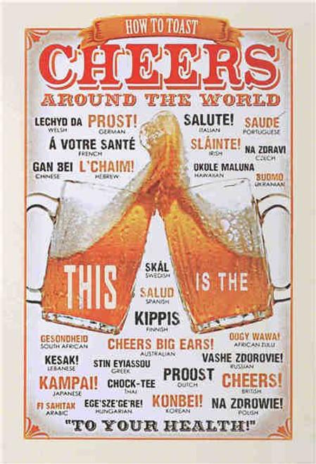 retro style tin signs - Cheers around the world