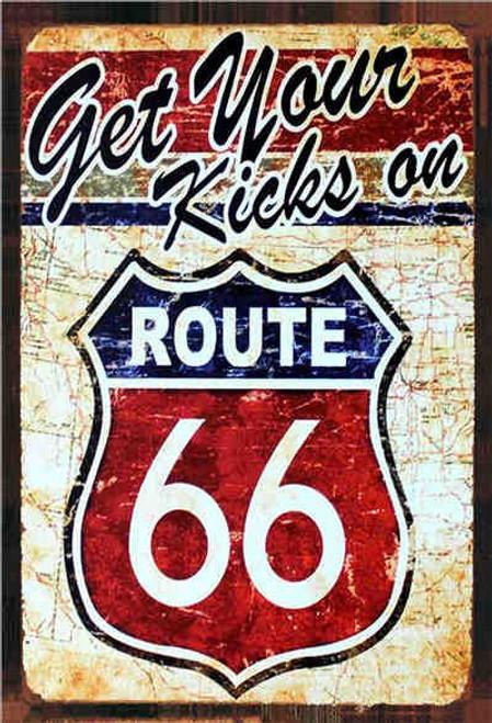 retro style tin sign - Kicks on Route 66