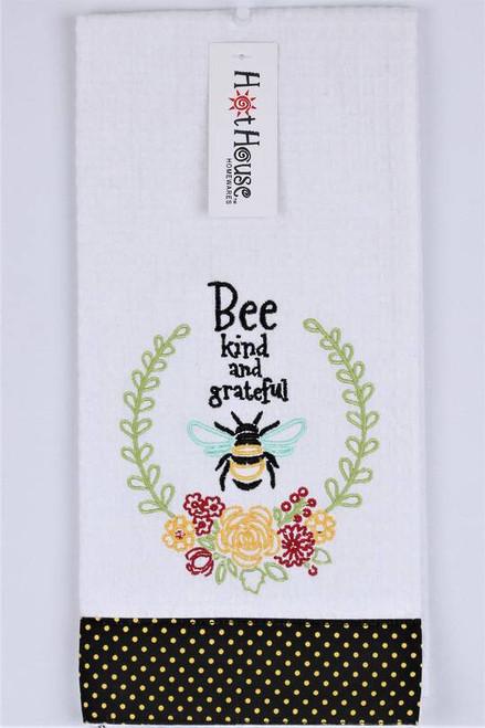 "Funny Tea Towel - 100% cotton - ""Bee kind and grateful"""