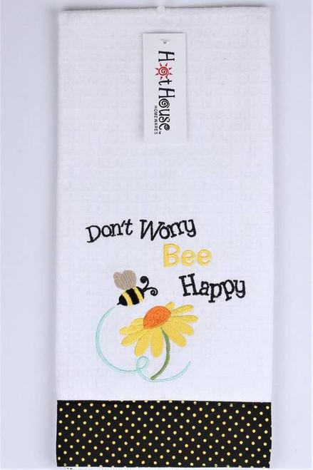 "Funny Tea Towel - 100% cotton - ""Don't worry Bee Happy"""